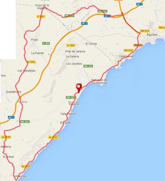 70Km- Villaricos por la costa y Aguilas por Pulpí